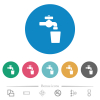 Drinking water flat round icons - Drinking water flat white icons on round color backgrounds. 6 bonus icons included.