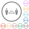 Social distancing 2 meters flat icons with outlines - Social distancing 2 meters flat color icons in round outlines on white background