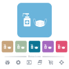 Medical face mask and hand sanitizer flat icons on color rounded square backgrounds - Medical face mask and hand sanitizer white flat icons on color rounded square backgrounds. 6 bonus icons included