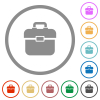 Toolbox flat icons with outlines - Toolbox flat color icons in round outlines on white background
