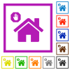 Home quarantine flat framed icons - Home quarantine flat color icons in square frames on white background