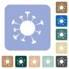 Corona virus rounded square flat icons - Corona virus white flat icons on color rounded square backgrounds