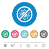 No covid flat round icons - No covid flat white icons on round color backgrounds. 6 bonus icons included.