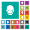 Face with medical mask square flat multi colored icons - Face with medical mask multi colored flat icons on plain square backgrounds. Included white and darker icon variations for hover or active effects.