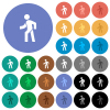 Man walking left round flat multi colored icons - Man walking left multi colored flat icons on round backgrounds. Included white, light and dark icon variations for hover and active status effects, and bonus shades.