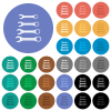 Set of wrenches round flat multi colored icons - Set of wrenches multi colored flat icons on round backgrounds. Included white, light and dark icon variations for hover and active status effects, and bonus shades.