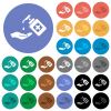 Hand washing with hand sanitizer round flat multi colored icons - Hand washing with hand sanitizer multi colored flat icons on round backgrounds. Included white, light and dark icon variations for hover and active status effects, and bonus shades.