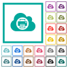 Cloud printing flat color icons with quadrant frames - Cloud printing flat color icons with quadrant frames on white background