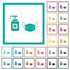 Medical face mask and hand sanitizer flat color icons with quadrant frames - Medical face mask and hand sanitizer flat color icons with quadrant frames on white background