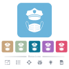 Police hat and medical face mask white flat icons on color rounded square backgrounds. 6 bonus icons included - Police hat and medical face mask flat icons on color rounded square backgrounds