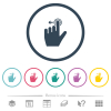Left handed slide left gesture flat color icons in round outlines. 6 bonus icons included. - Left handed slide left gesture flat color icons in round outlines