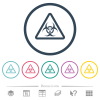 Biohazard warning flat color icons in round outlines - Biohazard warning flat color icons in round outlines. 6 bonus icons included.