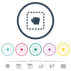 Drag item flat color icons in round outlines - Drag item flat color icons in round outlines. 6 bonus icons included.