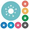 Corona virus flat round icons - Corona virus flat white icons on round color backgrounds