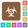 Biohazard sign rounded square flat icons - Biohazard sign flat icons on rounded square vivid color backgrounds.