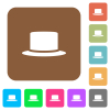 Silk hat flat icons on rounded square vivid color backgrounds. - Silk hat rounded square flat icons
