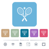 Tennis rackets with ball white flat icons on color rounded square backgrounds. 6 bonus icons included - Tennis rackets with ball flat icons on color rounded square backgrounds