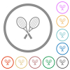 Two tennis rackets flat color icons in round outlines on white background - Two tennis rackets flat icons with outlines