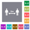 Social distancing 2 meters square flat icons - Social distancing 2 meters flat icons on simple color square backgrounds