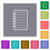 Notepad flat icons on simple color square backgrounds - Notepad square flat icons