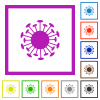 Corona virus flat color icons in square frames on white background - Corona virus flat framed icons