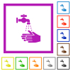 Hand washing flat framed icons - Hand washing flat color icons in square frames on white background