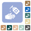 Hand washing with hand sanitizer rounded square flat icons - Hand washing with hand sanitizer white flat icons on color rounded square backgrounds