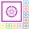Alloy wheel flat color icons in square frames on white background - Alloy wheel flat framed icons
