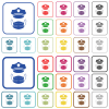 Police hat and medical face mask outlined flat color icons - Police hat and medical face mask color flat icons in rounded square frames. Thin and thick versions included.
