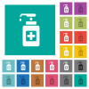 Hand sanitizer multi colored flat icons on plain square backgrounds. Included white and darker icon variations for hover or active effects. - Hand sanitizer square flat multi colored icons
