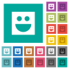 Smiley multi colored flat icons on plain square backgrounds. Included white and darker icon variations for hover or active effects. - Smiley square flat multi colored icons