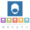 Face with medical mask flat white icons in square backgrounds - Face with medical mask flat white icons in square backgrounds. 6 bonus icons included.