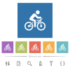 Bicycle with rider flat white icons in square backgrounds - Bicycle with rider flat white icons in square backgrounds. 6 bonus icons included.