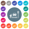 Pedestrian crossing flat white icons on round color backgrounds - Pedestrian crossing flat white icons on round color backgrounds. 17 background color variations are included.