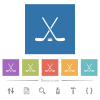 Hockey sticks with puck flat white icons in square backgrounds - Hockey sticks with puck flat white icons in square backgrounds. 6 bonus icons included.
