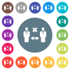 Incorrect social distancing flat white icons on round color backgrounds - Incorrect social distancing flat white icons on round color backgrounds. 17 background color variations are included.