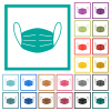 Medical face mask flat color icons with quadrant frames - Medical face mask flat color icons with quadrant frames on white background