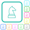 White chess knight vivid colored flat icons - White chess knight vivid colored flat icons in curved borders on white background