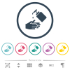 Hand washing with liquid soap flat color icons in round outlines - Hand washing with liquid soap flat color icons in round outlines. 6 bonus icons included.
