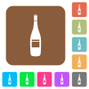 Wine bottle with grapes rounded square flat icons - Wine bottle with grapes flat icons on rounded square vivid color backgrounds.