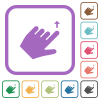 Left handed move up gesture simple icons - Left handed move up gesture simple icons in color rounded square frames on white background