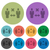 Incorrect social distancing color darker flat icons - Incorrect social distancing darker flat icons on color round background