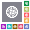 Roulette wheel square flat icons - Roulette wheel flat icons on simple color square backgrounds