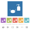 Medical face mask and liquid soap flat white icons in square backgrounds - Medical face mask and liquid soap flat white icons in square backgrounds. 6 bonus icons included.