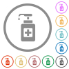 Hand sanitizer flat icons with outlines - Hand sanitizer flat color icons in round outlines on white background