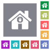 Home quarantine square flat icons - Home quarantine flat icons on simple color square backgrounds