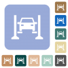Car service white flat icons on color rounded square backgrounds - Car service rounded square flat icons