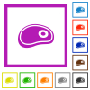 Steak flat color icons in square frames on white background - Steak flat framed icons