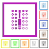 Set of screwdriver bits flat framed icons - Set of screwdriver bits flat color icons in square frames on white background