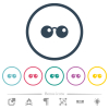 Sunglasses flat color icons in round outlines. 6 bonus icons included. - Sunglasses flat color icons in round outlines